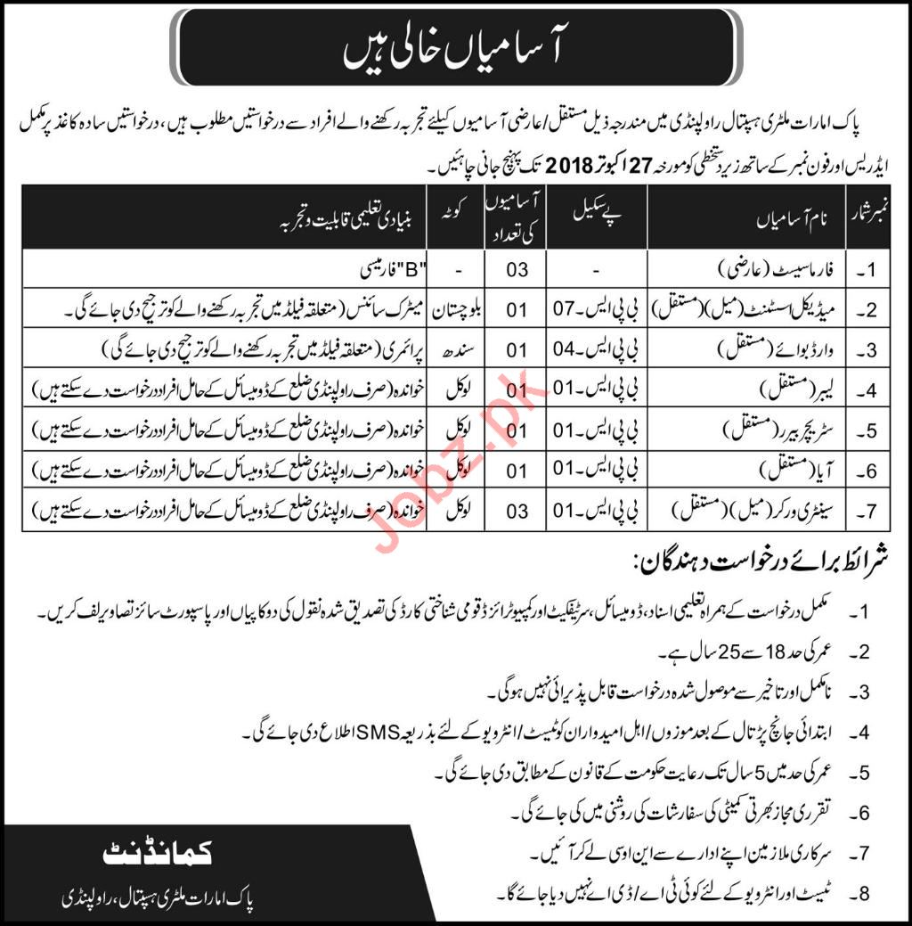 Combined Military Hospital CMH Jobs 2018 in Rawalpindi