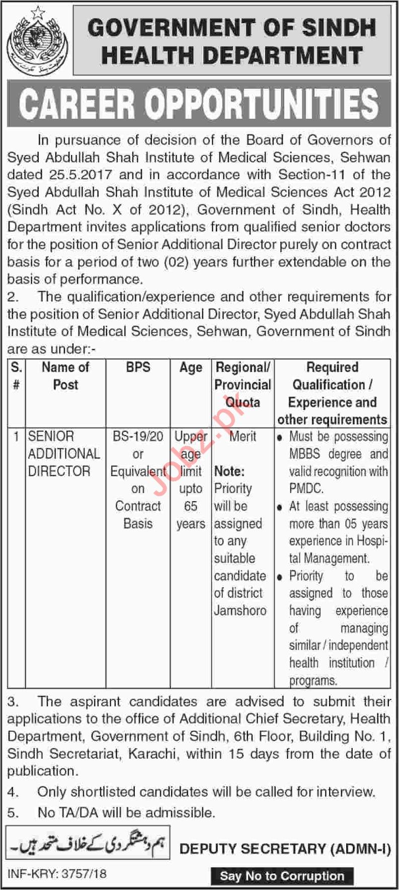 Health Department Job 2018 Senior Additional Director