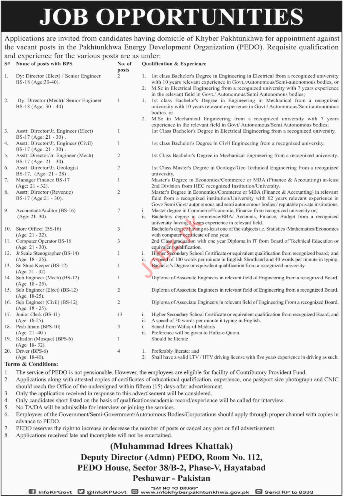 PEDO Pakhtunkhwa Energy Development Organization Jobs 2018