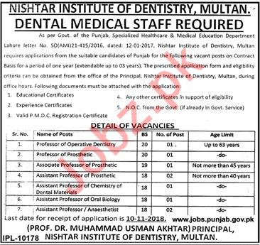 Nishtar Institute of Dentistry Medical Faculty Jobs 2018