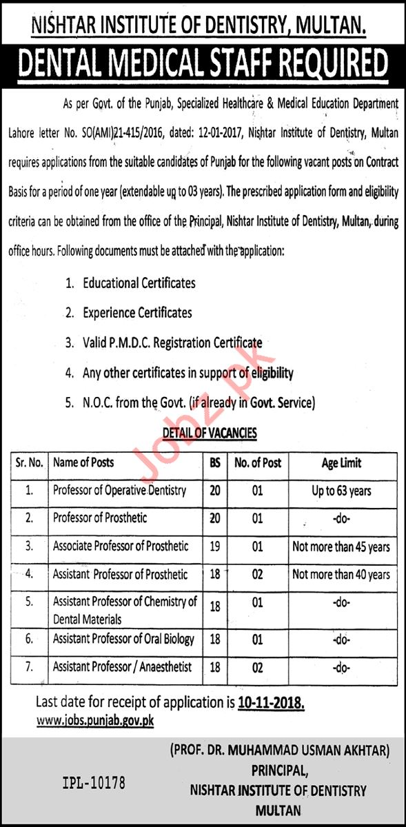 Nishtar Institute of Dentistry Dental Medical Staff Jobs