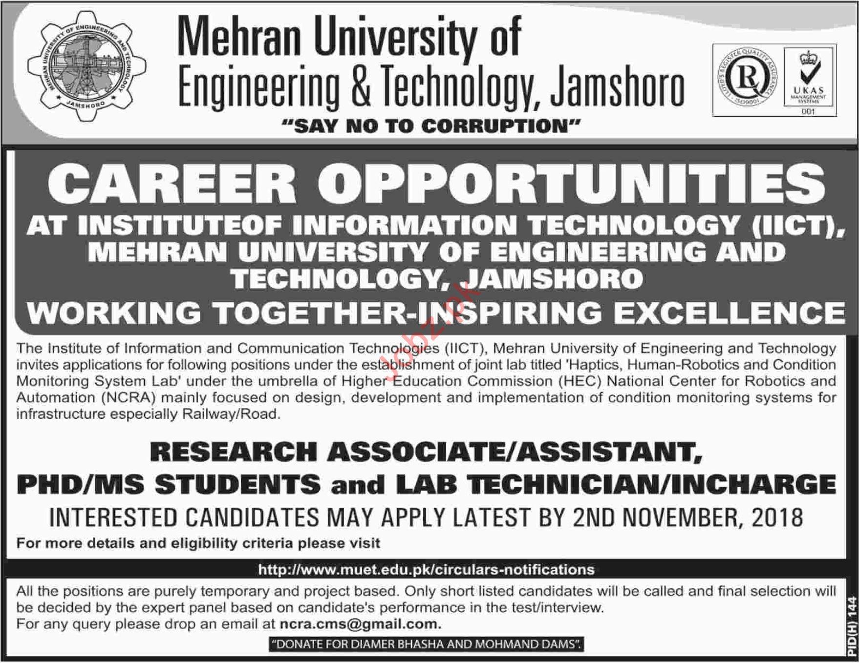 Mehran University MUET Jamshoro Jobs for Research Associate