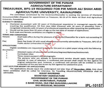 Agriculture Department Chartered Accountant Jobs 2018