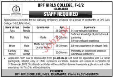 Mali Jobs in OPF Girls College Islamabad