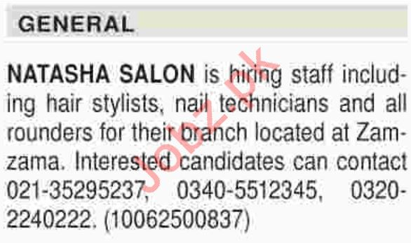 Beautician, Hair Stylist & Nail Technician Jobs 2018
