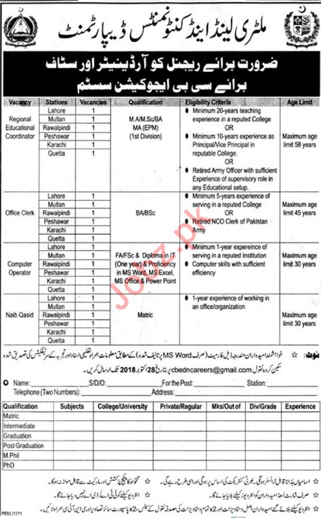 Cantonment Board CB Education System Jobs 2018