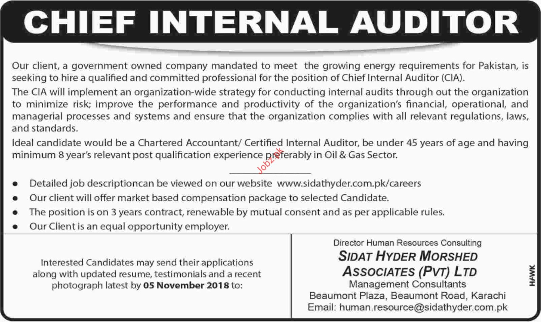Sidat Hyder Morshed Associates Internal Auditor Jobs 2018