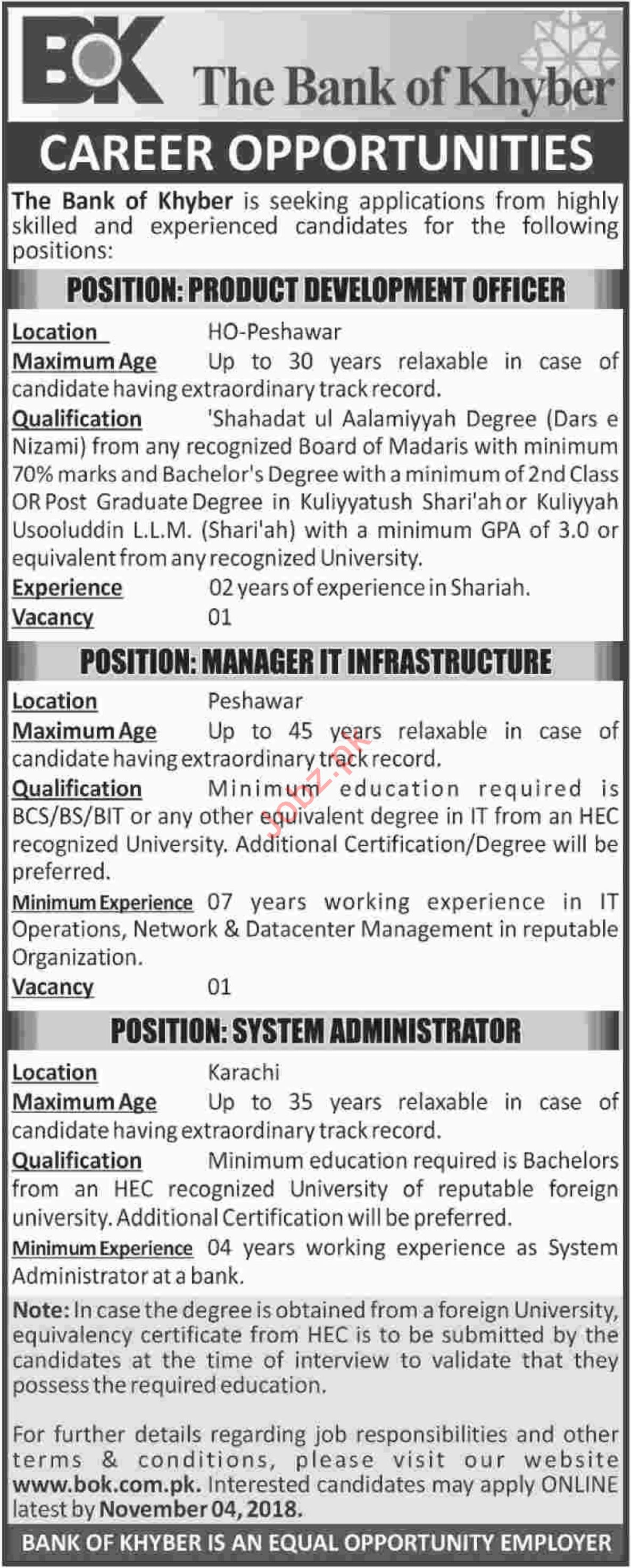 The Bank of Khyber BOK Production Development Officer Jobs