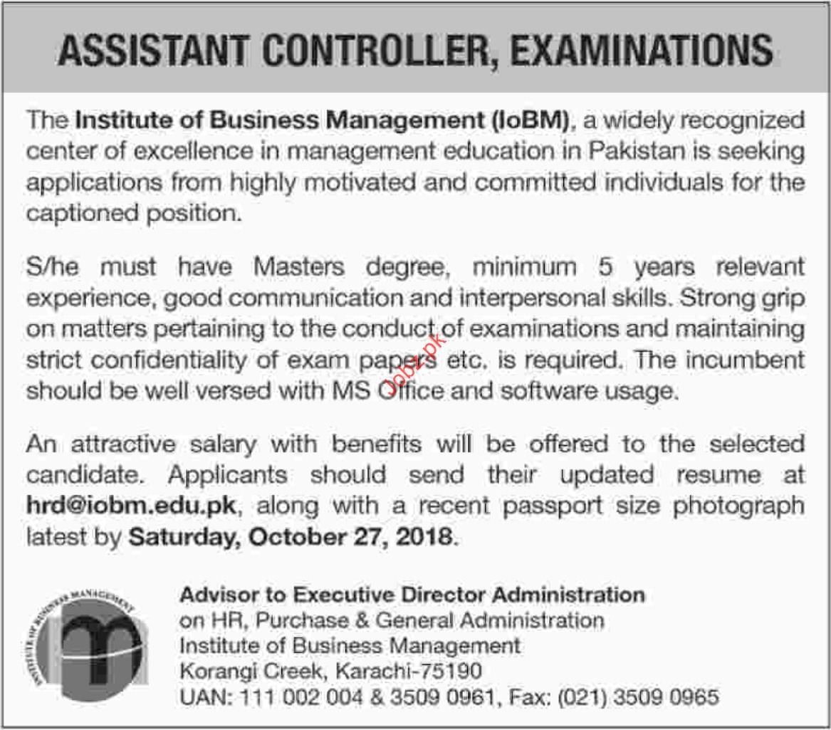 Assistant Controller Examination Jobs in IoBM