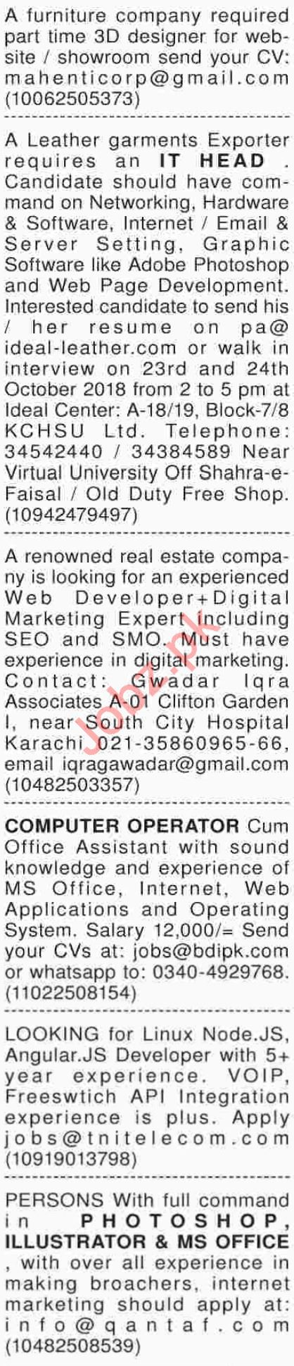 Dawn Sunday Computer / IT Classified Ads 21/10/2018