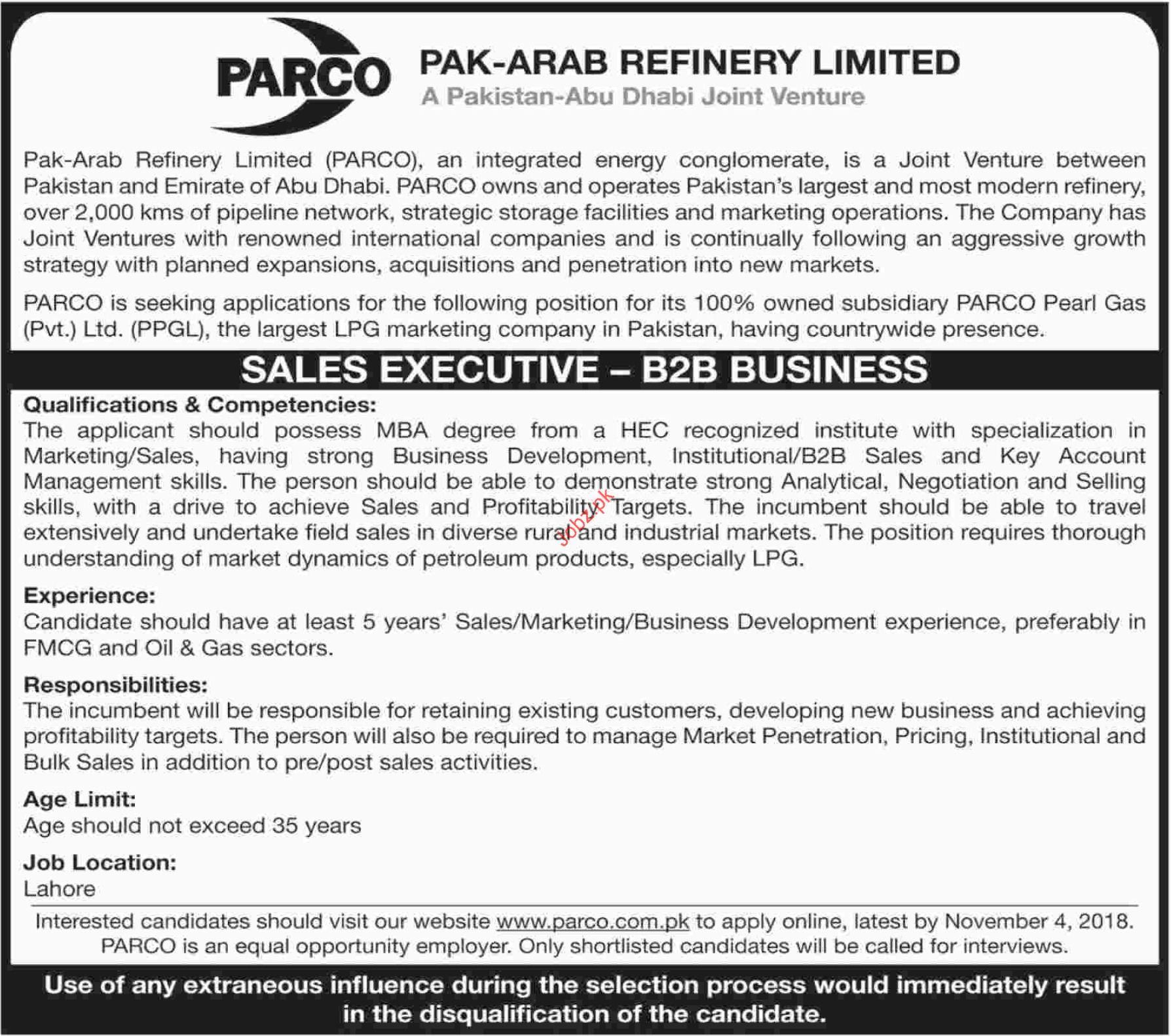 PARCO Sales Executive Jobs 2018