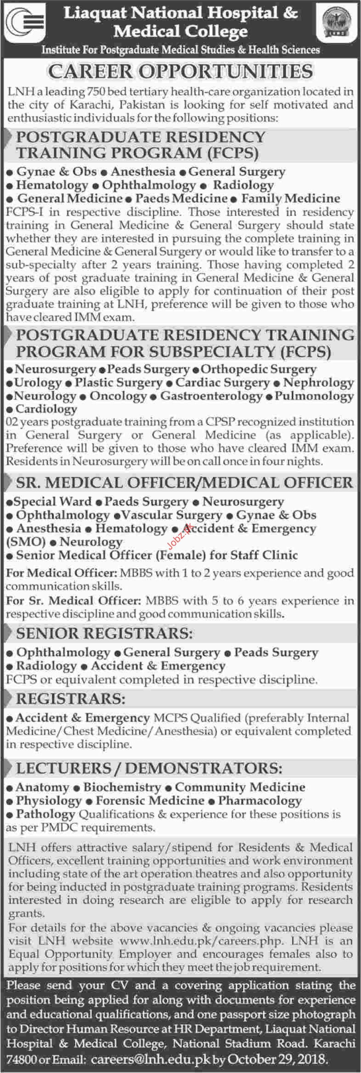 Postgraduate Training Jobs in Liaquat National Hospital