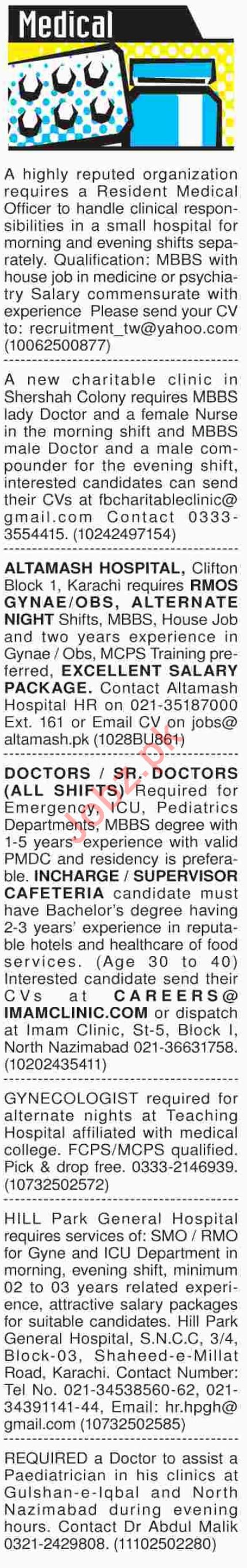 Dawn Sunday Medical Classified Ads 21/10/2018