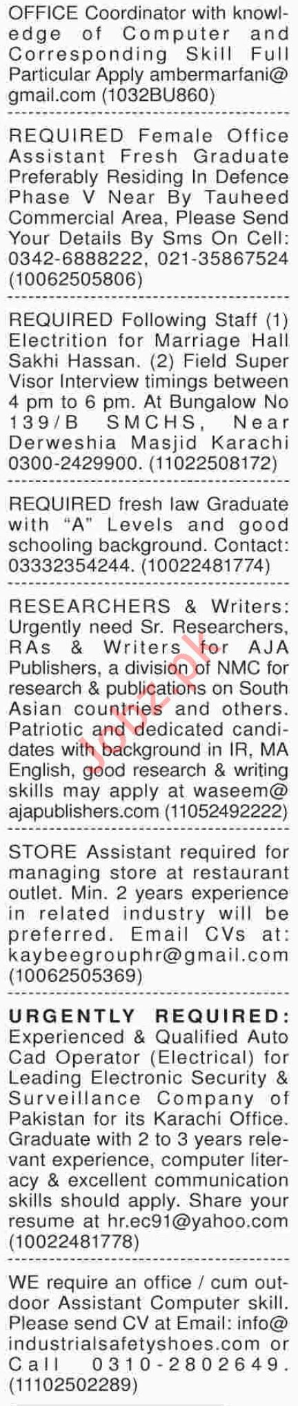 Dawn Sunday Management Classified Jobs 21/10/2018