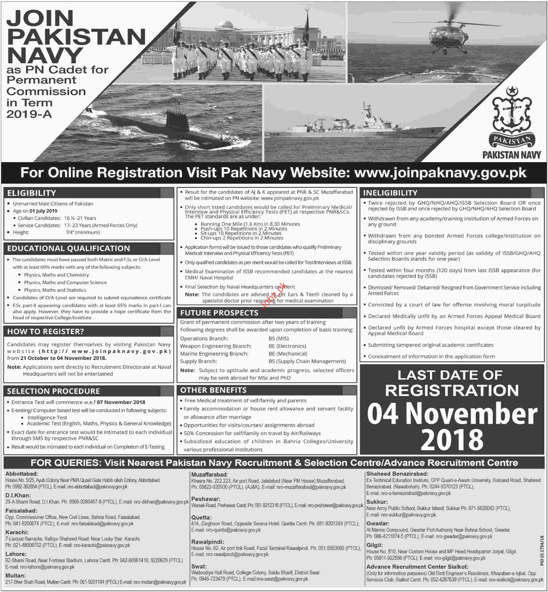 Join Pakistan Navy as PN Cadet for Permanent Commission Jobs