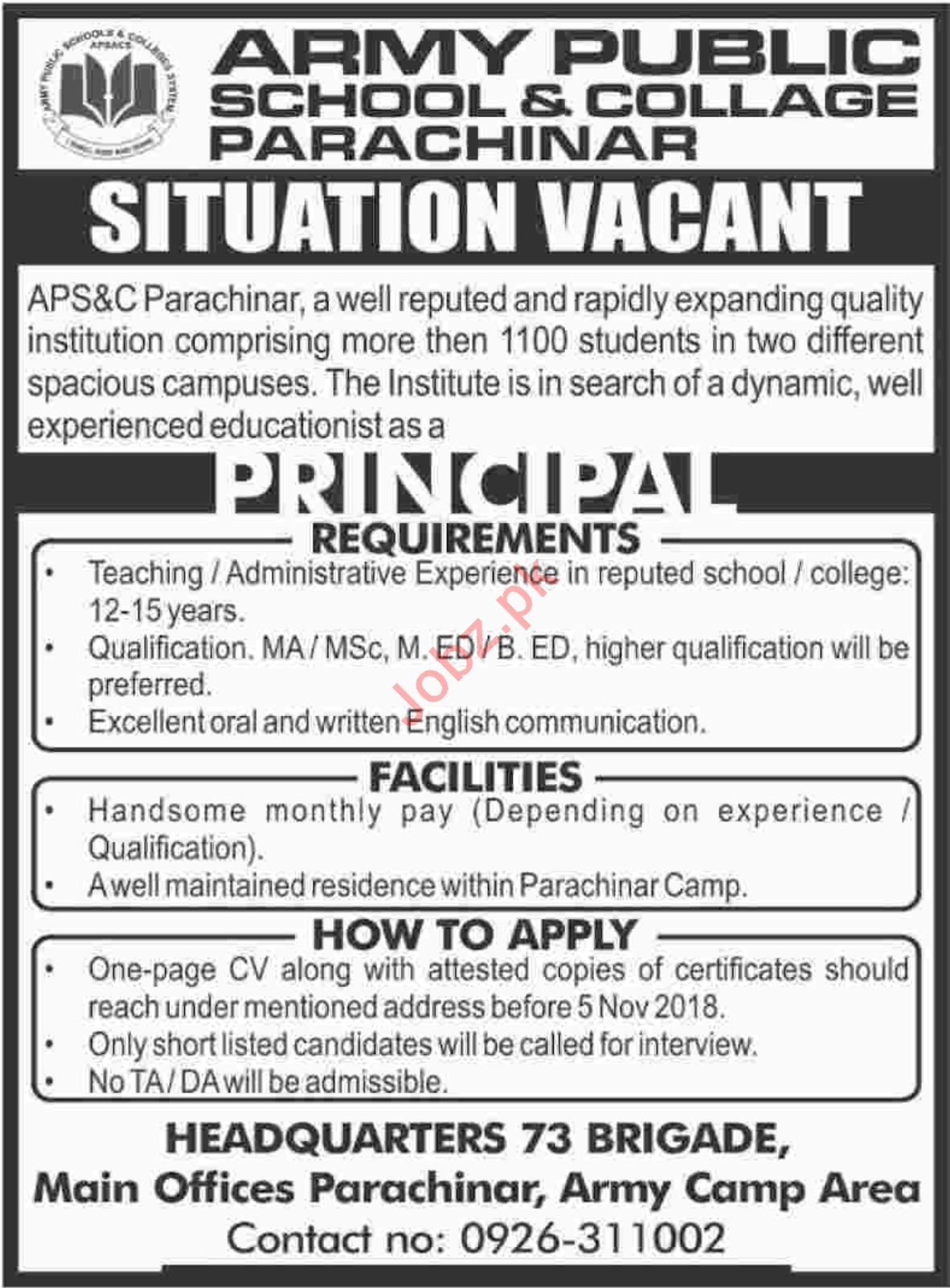 Army Public School and College Parachinar Principal Jobs