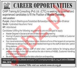 CHIP Training & Consulting Pvt Ltd Master Trainers Jobs