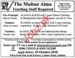 Vice Privnicpal Jobs in The Multan Alma Teaching
