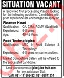 Finance Head & Food Technologist Jobs 2018 in Karachi