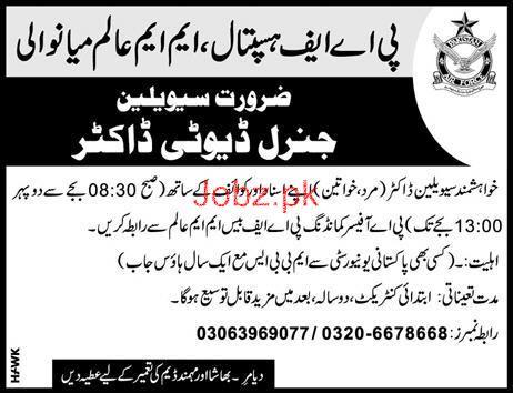 Pakistan Air Force PAF Hospital MM Alam Mainwali Jobs