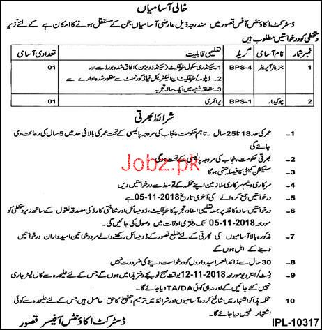 Generator Operator and Chawkidar Job in District Account