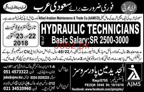 Hydraulic Technicians Job in Allied Arabian Maintenance