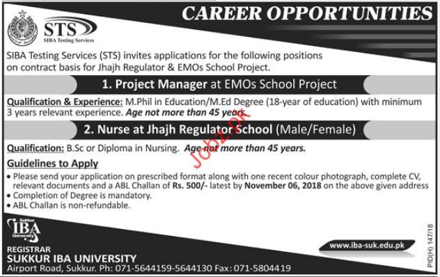 Sukkur IBA University Project Manager Jobs 2018