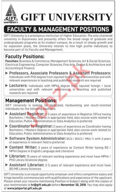Gift University Lahore Jobs 2018 for Professors & Registrars