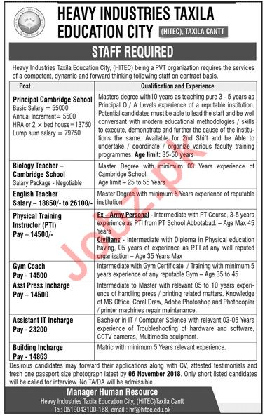 Heavy Industries Taxila Education City HITEC Teachers Jobs