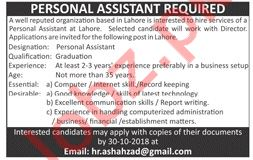 Personal Assistant Jobs 2018 in Lahore