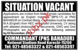English Instructor Jobs in Commandant PNS Bahadur