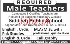 Male Teachers Job in Siddeeq Public School