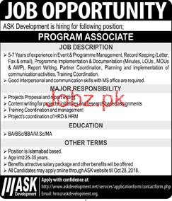 Program Associate Job in ASK Development