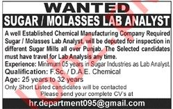 Molasses Lab Analyst Jobs 2018 in Lahore