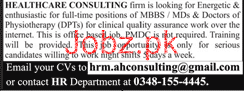 MBBS Doctors Job in Healthcare Consulting Firm