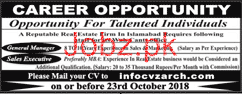 Ground Manager and Sales Executives Job Opportunity