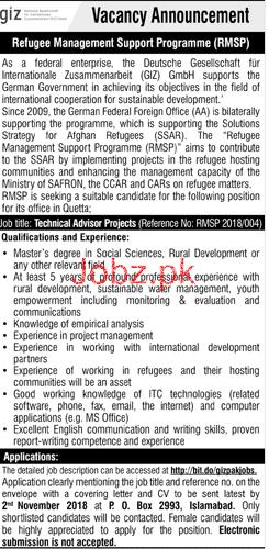 Technical Adviser Project Jobs in GIZ Pakistan