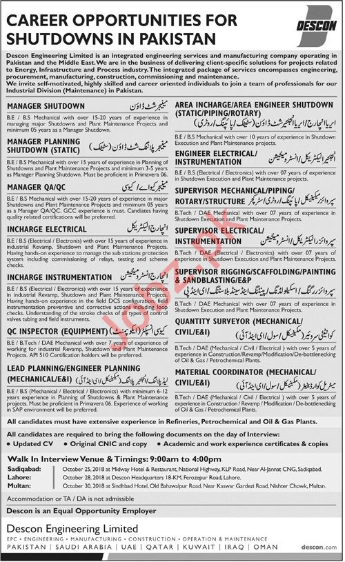 Descon Engineering Jobs 2018 for Managers & Engineers