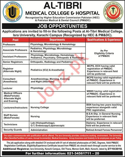 Al Tibri Medical College & Hospital Karachi Jobs Professors