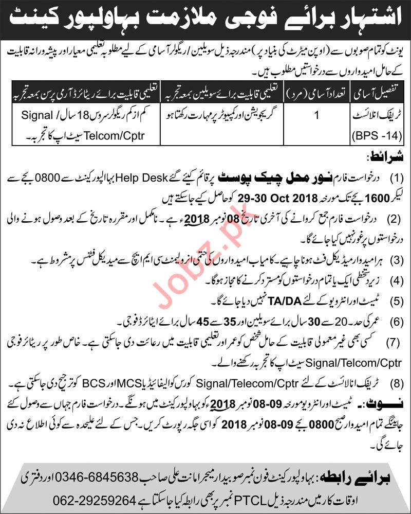 Pakistan Army Bahawalpur Cantt Traffic Analyst Jobs 2018