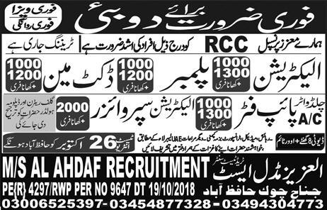 Electrician, Plumber, Docket Man & Pipe Fitter Jobs 2018