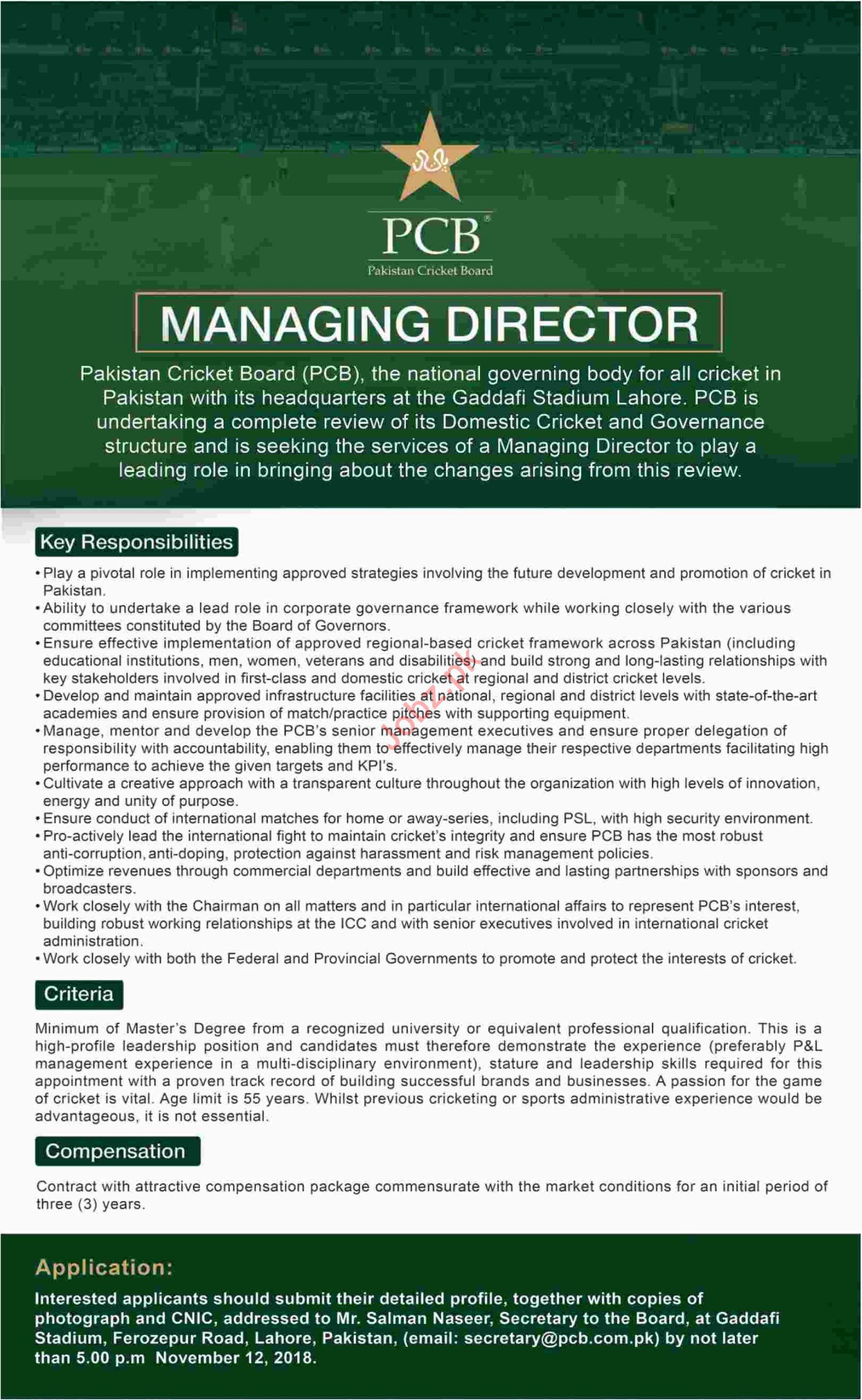 PCB Lahore Jobs 2018 for Managing Director