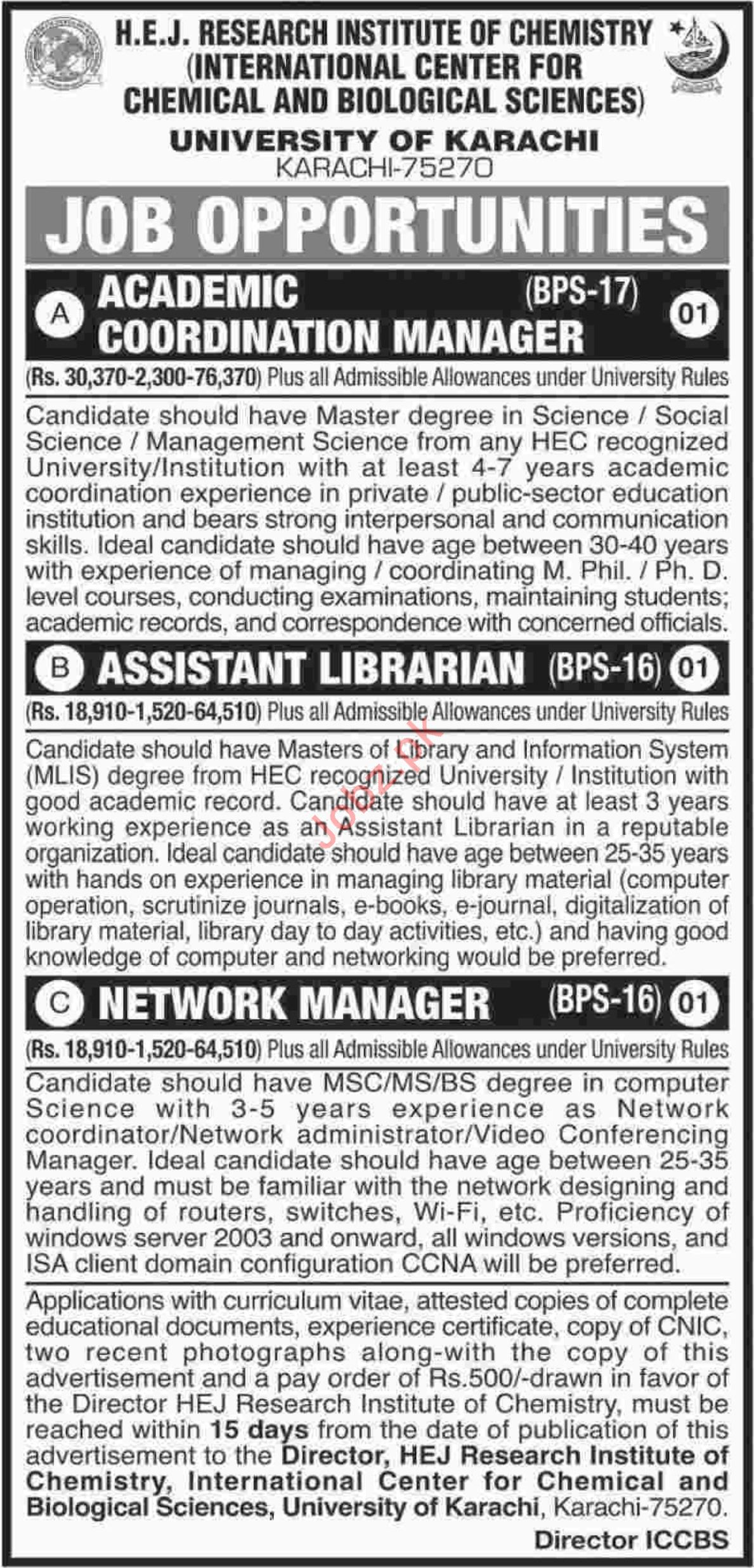 University of Karachi Jobs for Managers & Asst Librarian