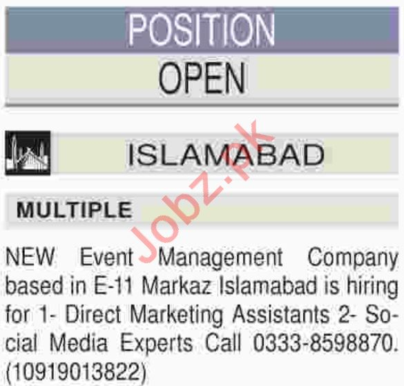 Marketing Assistant Jobs 2018 in Islamabad