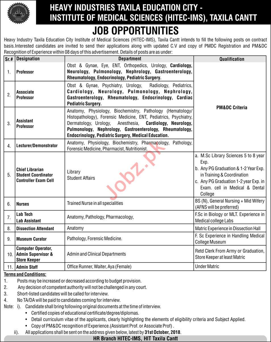 Heavy Industries Taxila Education City Jobs For Taxila Cantt