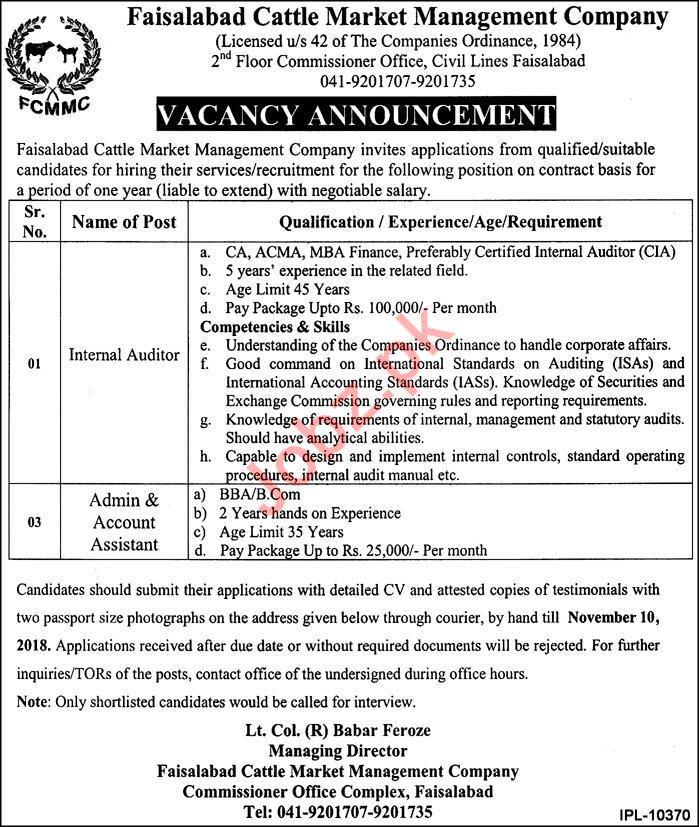 Faisalabad Cattle Market Management Company Jobs 2018