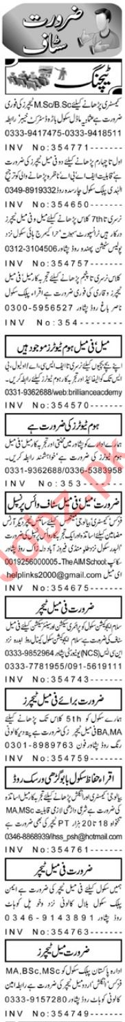 Educational Staff Jobs 2018 in Peshawar