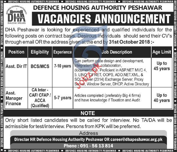 Assistant Director IT Jobs in Defence Housing Authority DHA