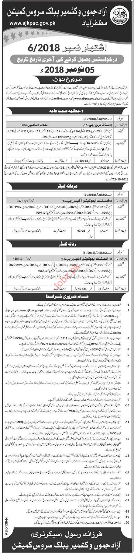 AJK Public Service Commission Staff Nurse Jobs 2018 2019 Job