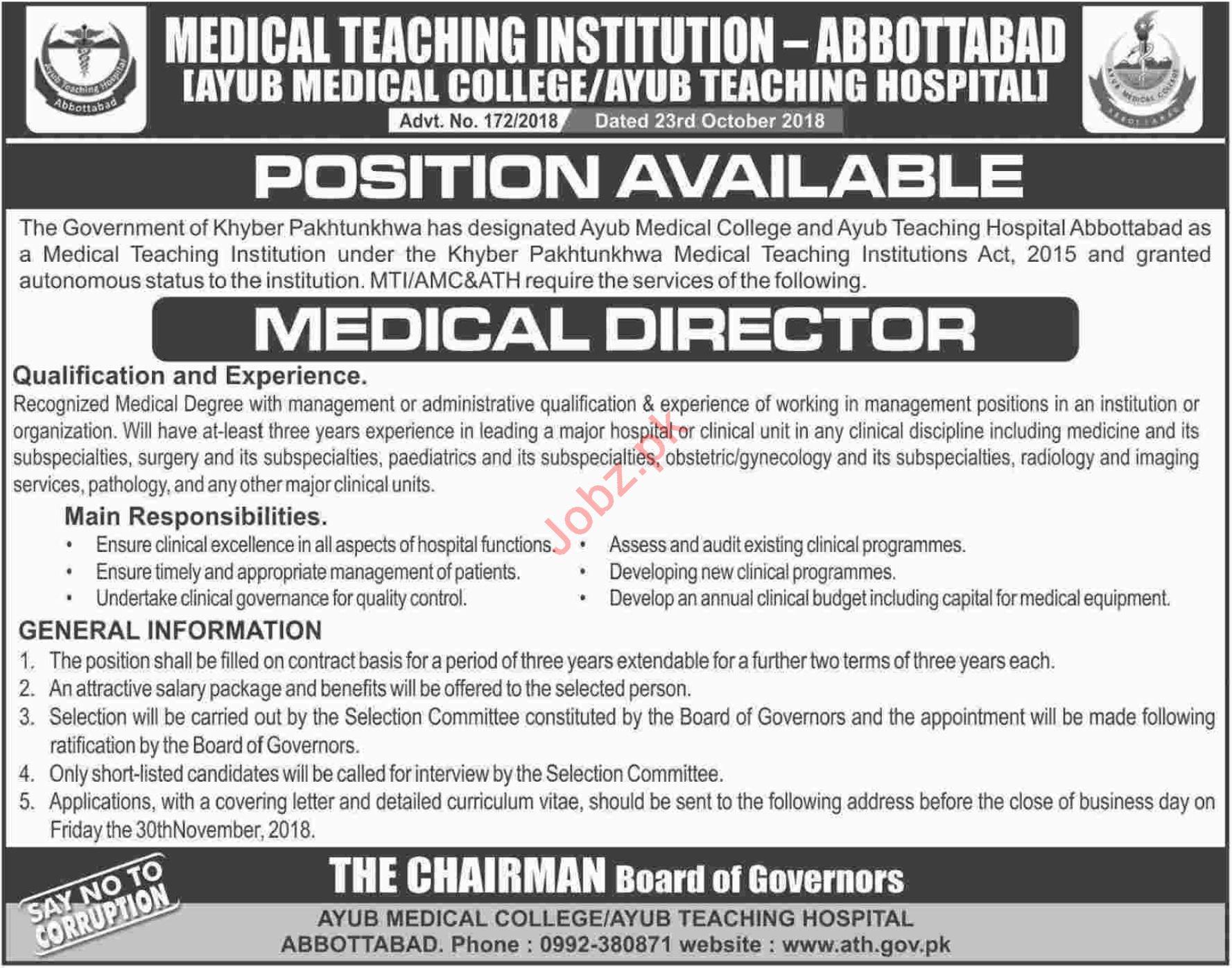 Ayub Teaching Hospital ATH Abbottabad Medical Director Jobs